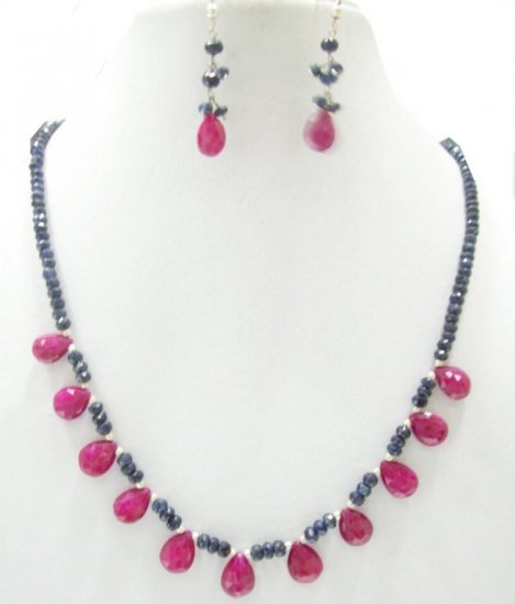 Designer Stunning blue sapphire Necklace with silver