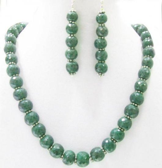Designer Single Stunning Emerald  Necklace with silver