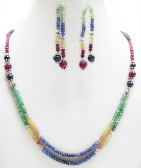 Designer Stunning  Multicolor Necklace with silver