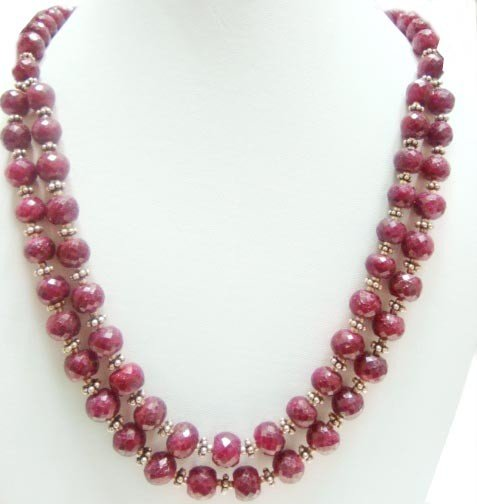 Designer Stunning Red Ruby Necklace with silver Clasp