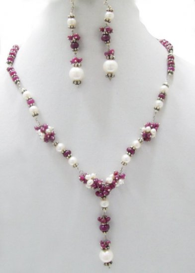 Designer Stunning Pearl & Ruby  Necklace with silver