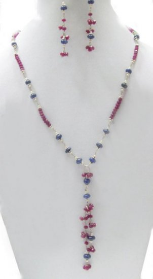 Designer Stunning sapphire & Ruby  Necklace with silver