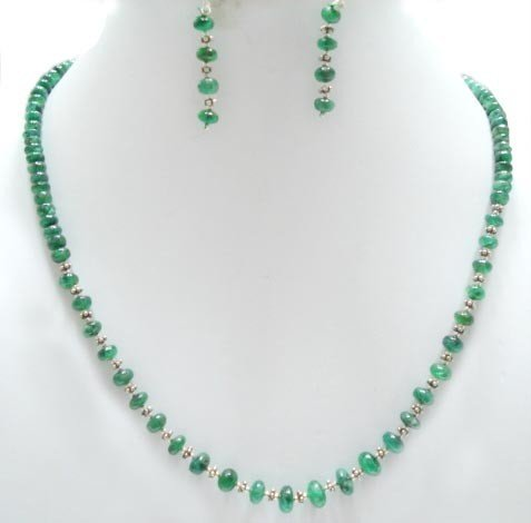 Designer Stunning Green Emerald Necklace with silver