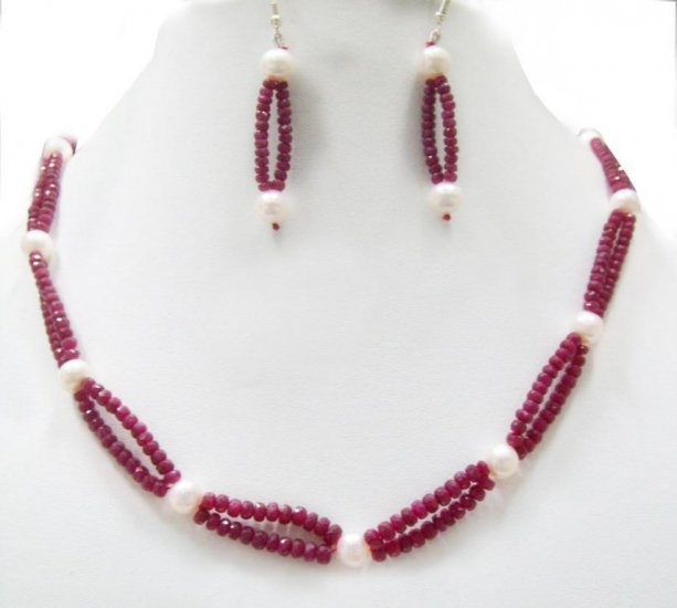 Designer Stunning  pear &Red Ruby Necklace with silver