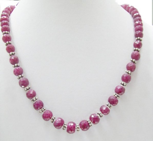 Designer Stunning Red Ruby Beaded Necklace with silver