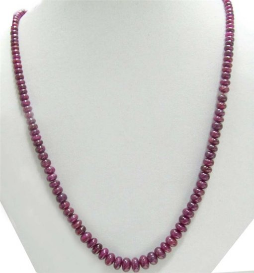 Single strand Cabochon Red Ruby Beaded Necklace