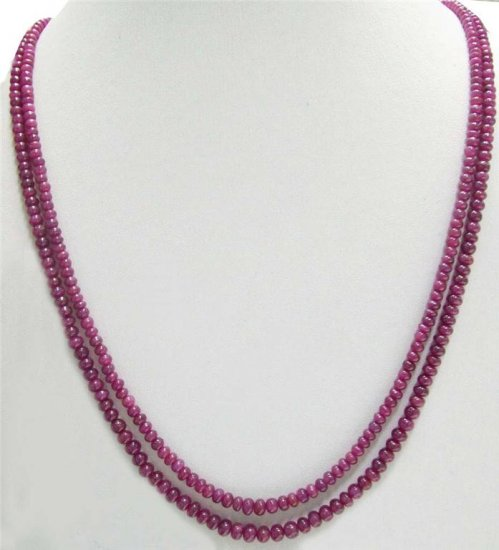 2Strand Handcrafted Cabochon Red Ruby Beaded Necklace