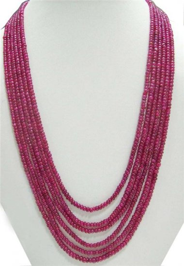 6Strand handcrafted Cabochon Red Ruby Beaded Necklace