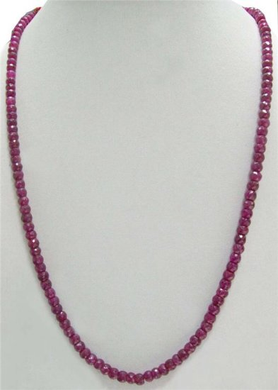 Single Strand Handcrafted African Ruby Beaded Necklace