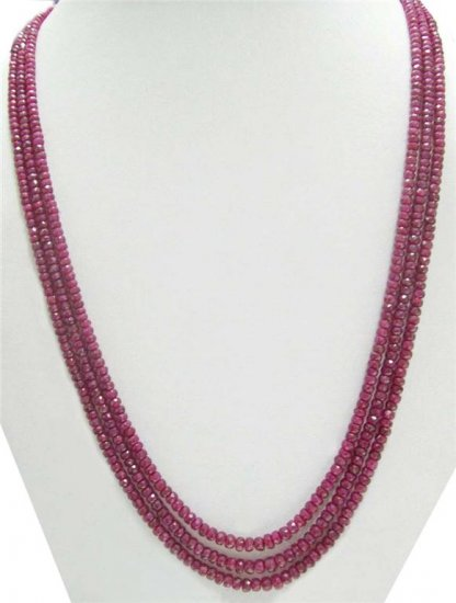 3Strand Handcrafted African Red Ruby Beaded Necklace