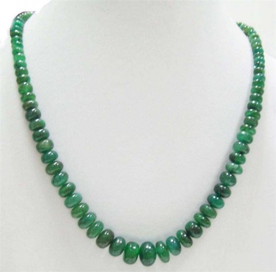 Single strand Cabochon emerald  Beaded Necklace 12-5mm