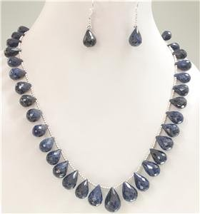 Handcrafted natural sapphire Drop & silver Necklace