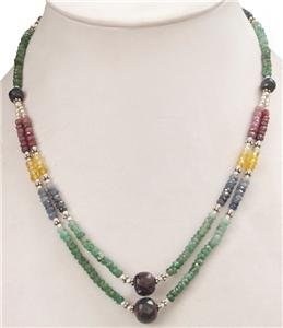 Natural Colombian Emerald Sapphire & Ruby Necklace