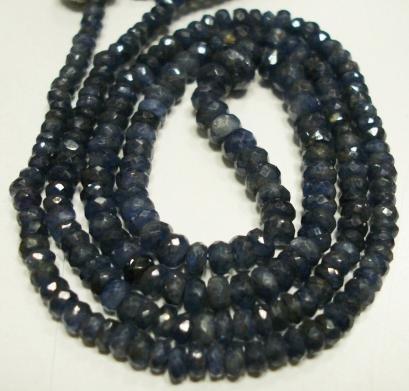 "Single Strand Natural Sapphire Bead Gemstone Strand 16"""