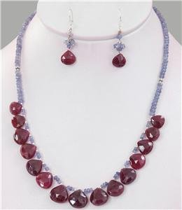 Natural Blue Sapphire & Ruby Drop with silver Necklace