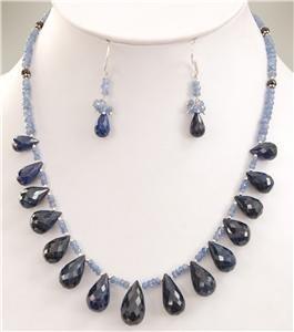Handcrafted Tanzanite,Sapphire Drop & Silver Necklace