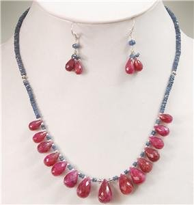 Natural Sapphire Gemstone & Ruby Drop Necklace