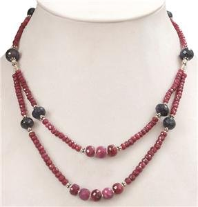 Natural Sapphire Gemstone & Ruby Beads silver Necklace