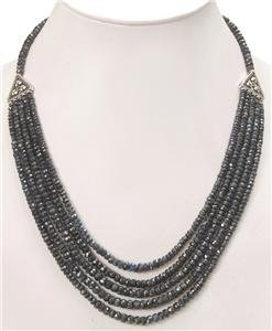 Natural Sapphire gemstone & silver clasp Necklace