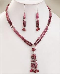 Natural Ruby Gemstone with silver beads Necklace