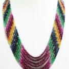Handmade 7 Strand Ruby,Sapphire,Emerald Beaded Necklace