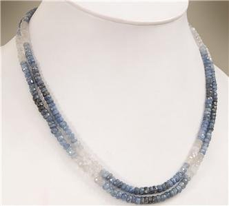 2strand Natural Shaded Sapphire Gemstone Necklace