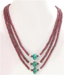3strand Natural Red Ruby & Emerald Gemstone Necklace