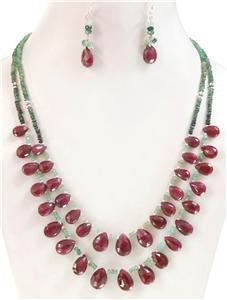 Handcrafted natural emerald & ruby drop Necklace %