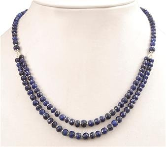 Handcrafted Natural Blue Sapphire Gemstone Necklace