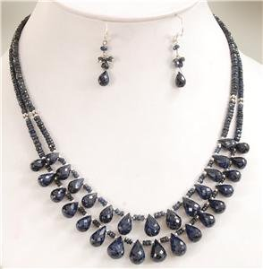 Natural Blue Sapphire Gemstone & silver Beads Necklace