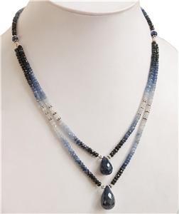 Handmade Natural Shaded Sapphire Gemstone Necklace