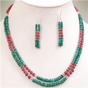 Natural emerald & ruby gemstone silver beads Necklace