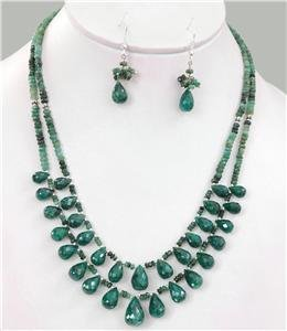 Natural emerald gemstone with silver drop Necklace