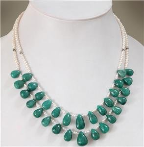 Natural Pearl & emerald Gemstone & silver Necklace