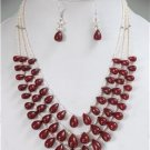 Handcrafted natural pearl & ruby drop silver Necklace