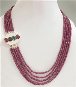 Handmade natural ruby gemstone & silver clasp Necklace