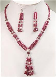 Natural ruby gemstone Drop & silver Beads Necklace