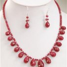 Handcrafted natural ruby drop Gemstone silver Necklace