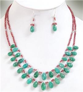 Handcrafted natural Ruby & Emerald drop Necklace