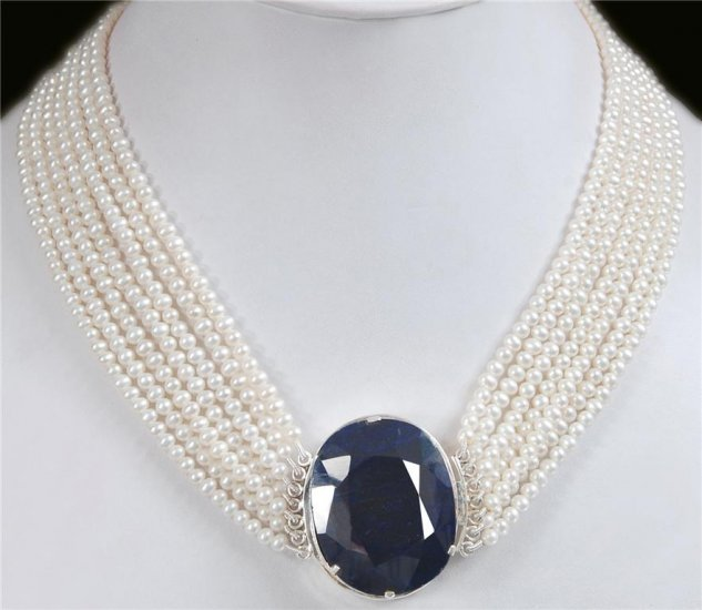 Natural pearl gemstone Necklace with sapphire Clasp
