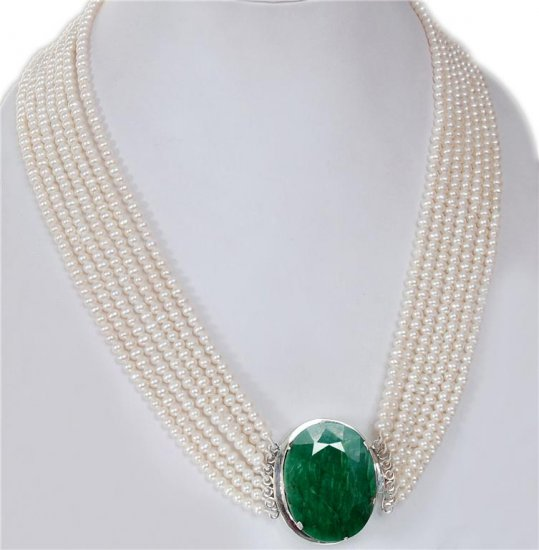 Handmade Natural pearl String With Silver Emerald Clasp