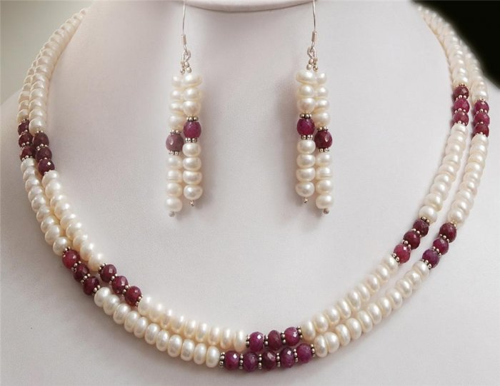 Handmade Pearl & Ruby Natural Beads Gemstone Necklace