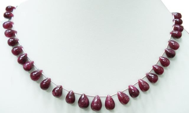 Handmade Natural Cabochon Red Ruby Drop Necklace