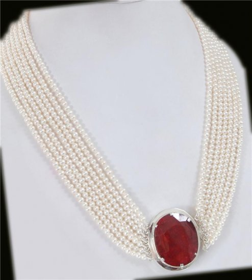 7Strand fresh water pearl String With Ruby silver Clasp