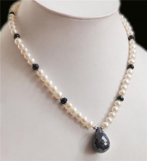 Handcrafted Pearl & sapphire Natural Beads Gem Necklace
