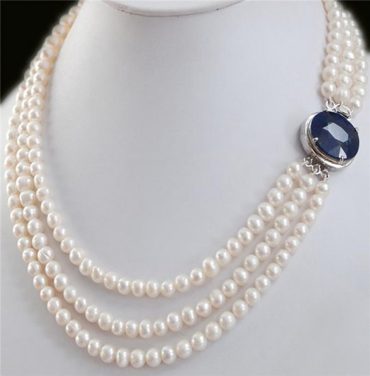 3 Strand Pearl Gemstone Necklace With Sapphire Clasp