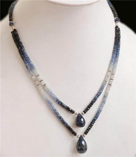 Designer Natural sapphire With silver beads Necklace
