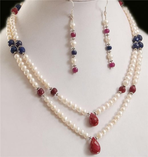 Pearl,Ruby & Sapphire Beads Necklace With Silver Beas
