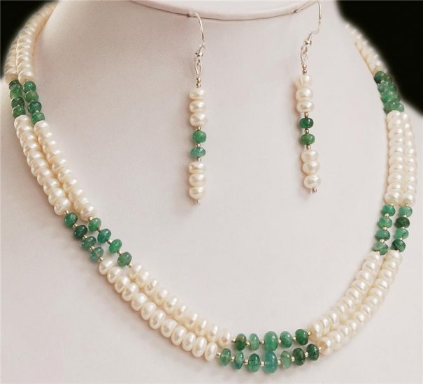 2strand Pearl & Colombian emerald with silver beads