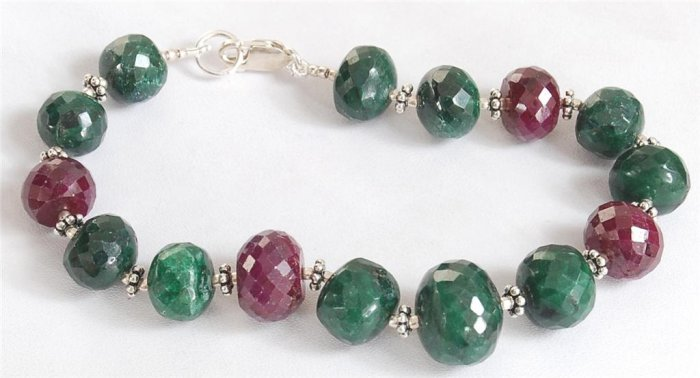 HANDCRAFTED EMERALD & RUBY WITH SILVER BEADS BRACELET